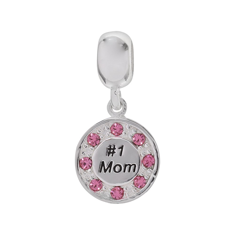 """Individuality Beads Sterling Silver Crystal """"# 1 Mom"""" Charm"""