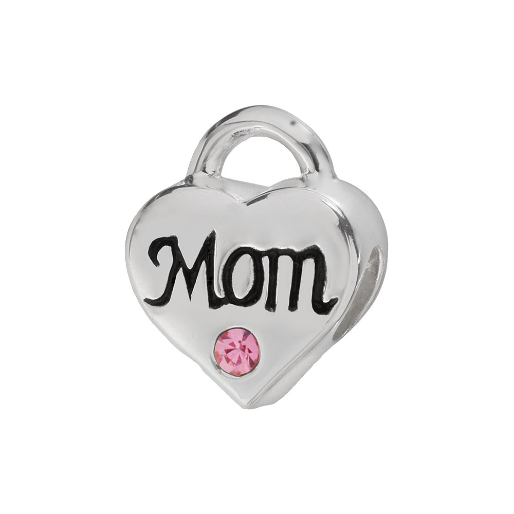 """Individuality Beads Sterling Silver Crystal """"Mom"""" Heart Lock Bead"""