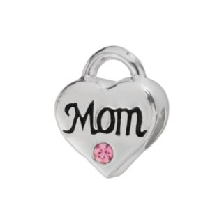 Individuality Beads Sterling Silver Crystal Mom Heart Lock Bead