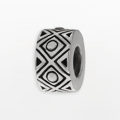 Individuality Beads Sterling Silver Geometric Stopper Bead