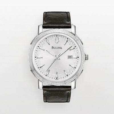 Bulova Stainless Steel Leather Watch - Men