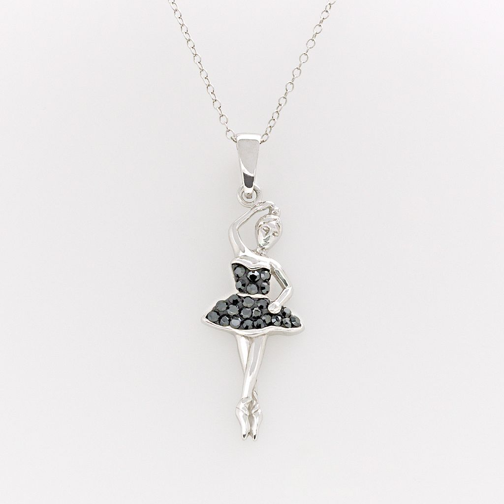 Sterling Silver Crystal Ballerina Pendant - Made with Swarovski Crystals