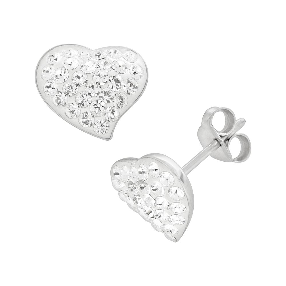 Sterling Silver Crystal Heart Stud Earrings