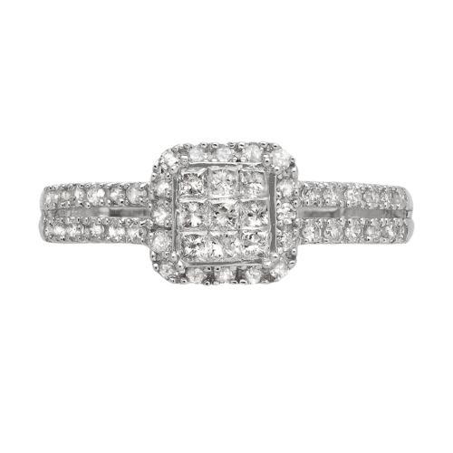 Diamond Frame Engagement Ring in 10k White Gold (1/2 ct. T.W.)