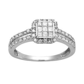10k White Gold 1/2 Carat T.W. Diamond Halo Engagement Ring