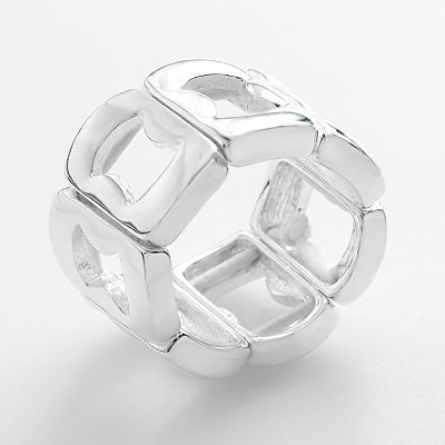 Trifari Silver Tone Cutout Stretch Ring