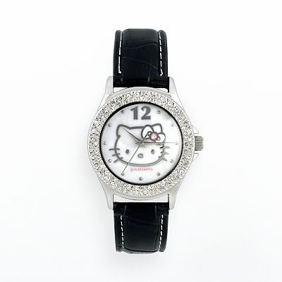 Hello Kitty Silver Tone Simulated Crystal Leather Watch - Women