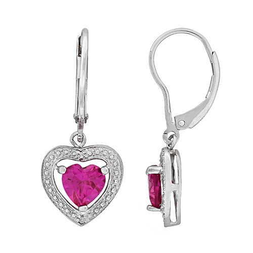 Stella Grace Sterling Silver Lab-Created Pink Sapphire and Diamond Accent Heart Drop Earrings