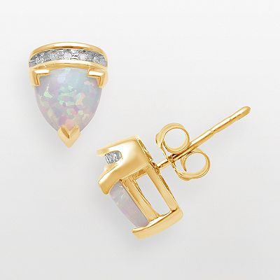 10k Gold Lab-Created Opal Trillion and Diamond Accent Stud Earrings