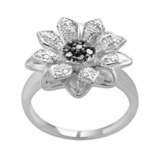 Sterling Silver 1/4-ct. T.W. Black and White Diamond Flower Ring