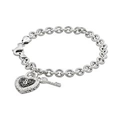 Sterling Silver 1/4-ct. T.W. Black & White Diamond Heart Lock & Key Bracelet