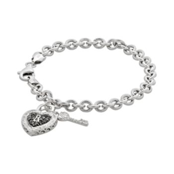 Sterling Silver 1/4-ct. T.W. Black and White Diamond Heart Lock and Key Bracelet