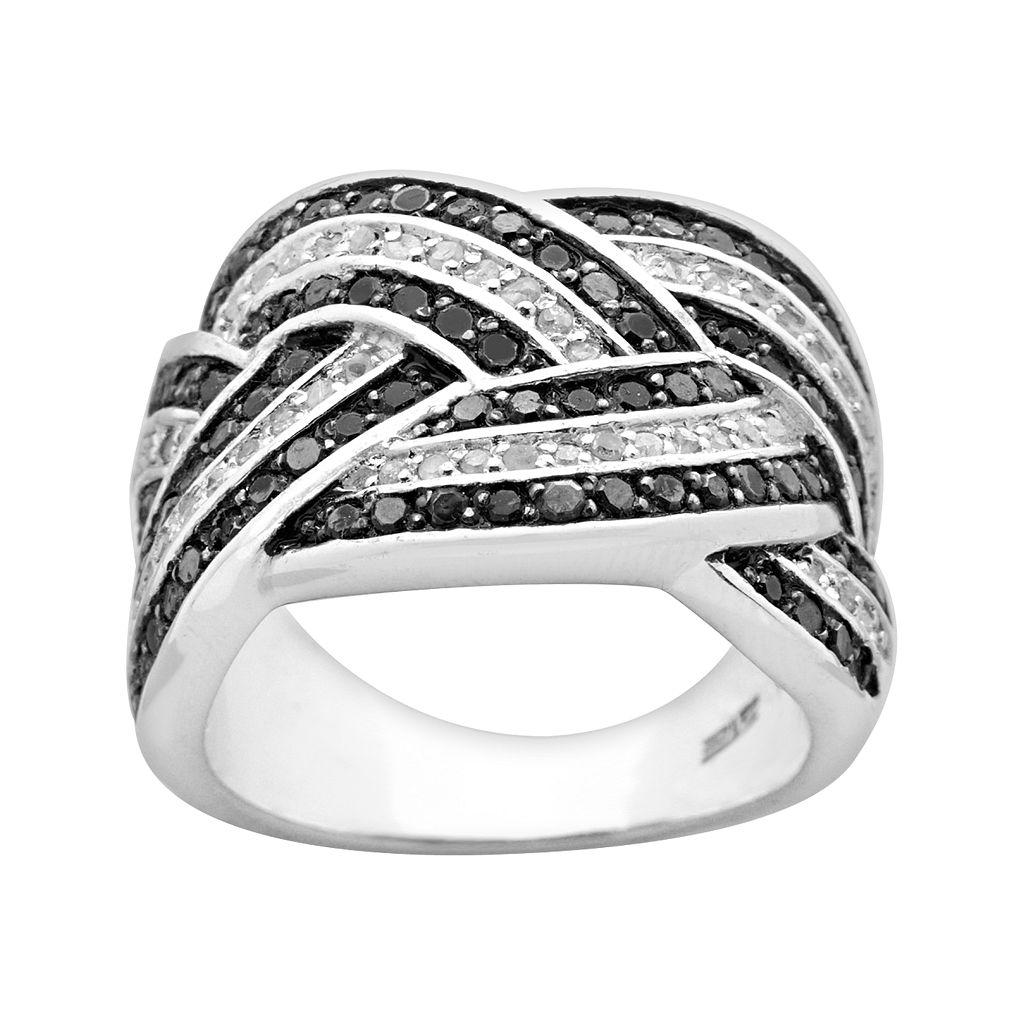 Sterling Silver 1-ct. T.W. Black & White Diamond Woven Ring