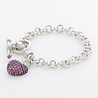 Sterling Silver Lab-Created Pink Sapphire Heart Toggle Bracelet