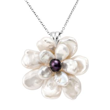 Sterling Silver Dyed Freshwater Cultured Pearl Flower Pendant