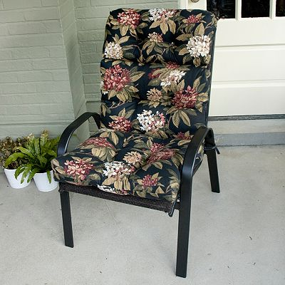 Midnight Floral Outdoor High-Back Chair Cushion