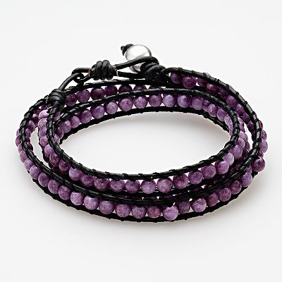 Sterling Silver and Leather Purple Agate Ladder Wrap Bracelet