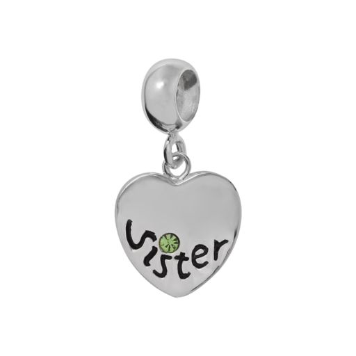 Individuality Beads Sterling Silver Crystal Sister Charm