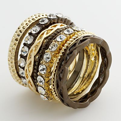 daisy fuentes Two Tone Simulated Crystal Ring Set