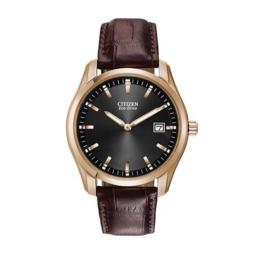 Citizen men 39 s eco drive leather watch au1043 00e for Watches kohls
