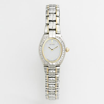 Citizen Eco-Drive Silhouette Stainless Steel Two Tone Diamond Accent and Mother-of-Pearl Watch - Women