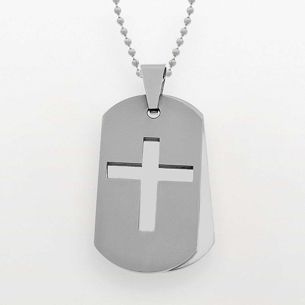 LYNX Stainless Steel Cross Dog Tag - Men