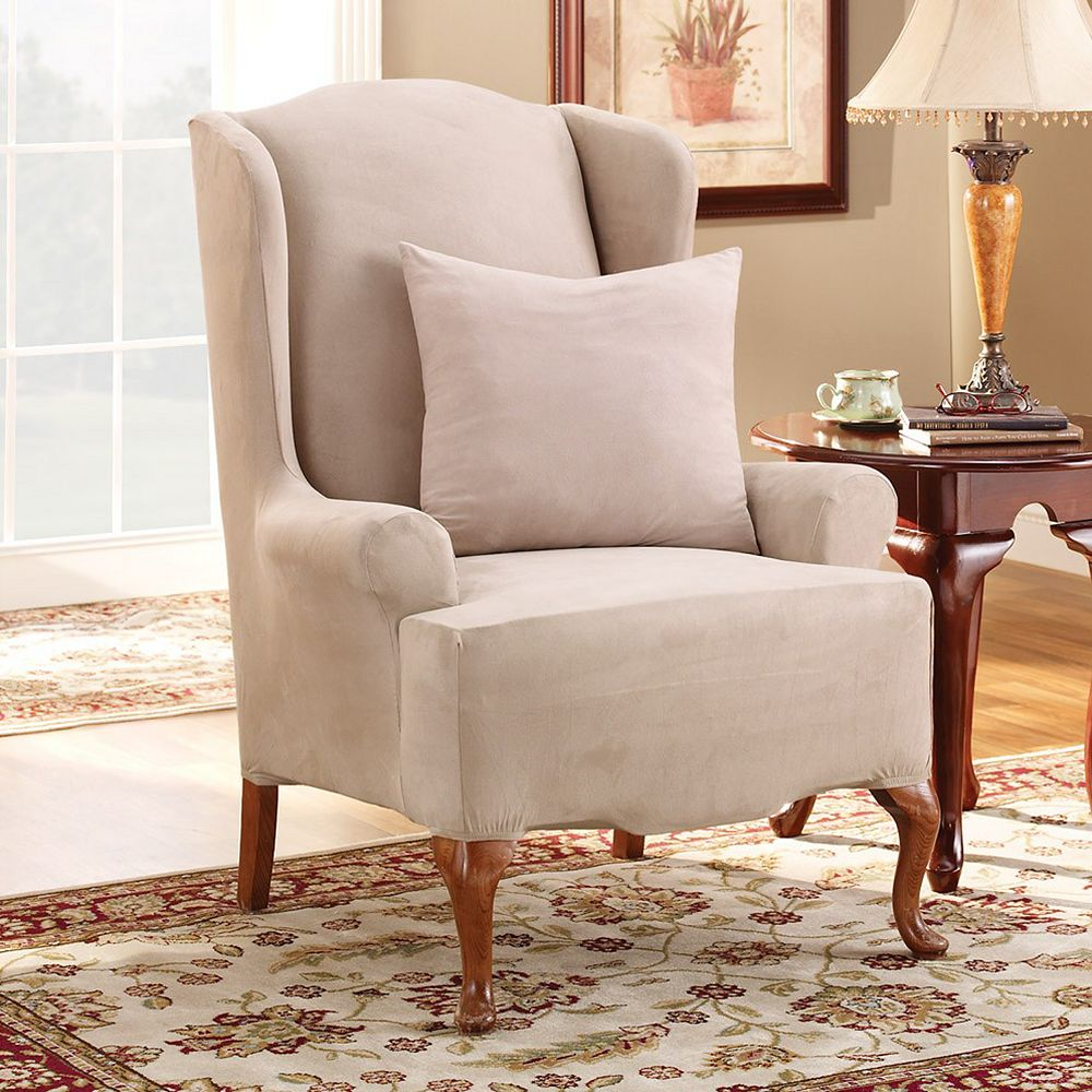 Sure Fit Stretch Suede Wing Chair Slipcover