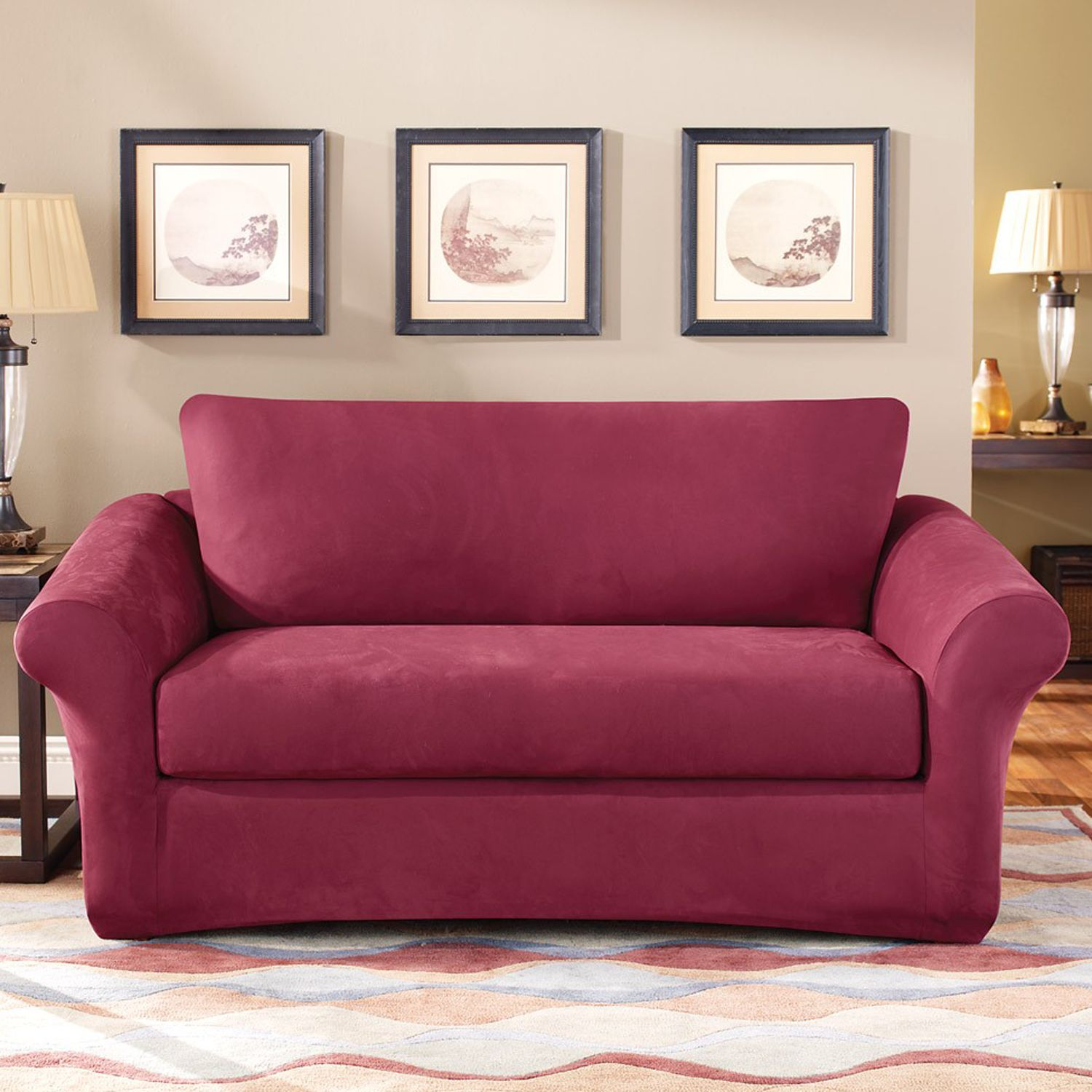 Fit Stretch Suede Loveseat Slipcover 3Piece