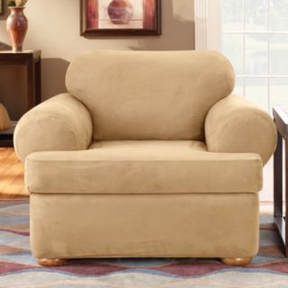 Sure Fit Stretch Suede T-Cushion Chair Slipcover