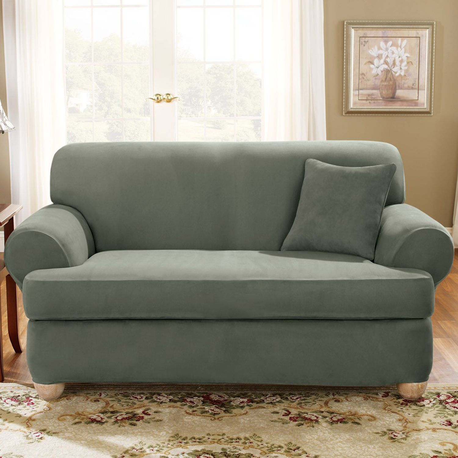 sure fit stretch suede tcushion loveseat slipcover
