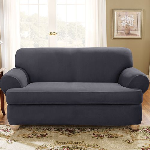 Sure Fit Stretch Suede T Cushion Loveseat Slipcover