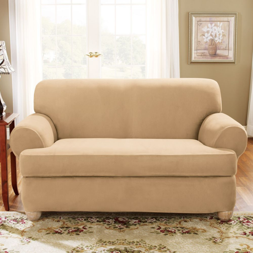 Fit Stretch Suede T Cushion Sofa Slipcover