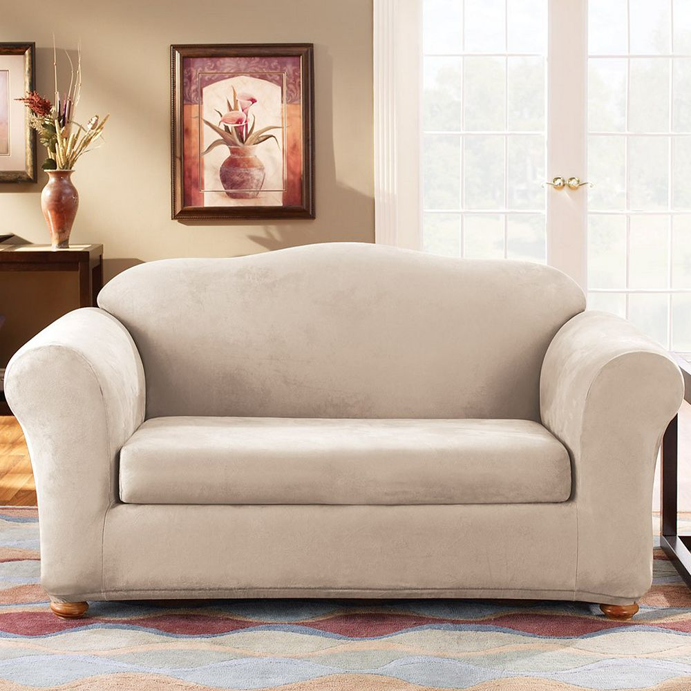 Sure Fit Stretch Suede Loveseat Slipcover (2-Piece)