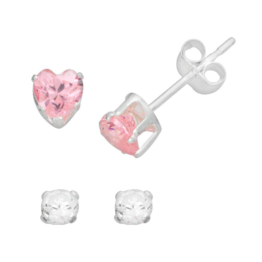 Sterling Silver Cubic Zirconia Heart Stud Earring Set - Kids
