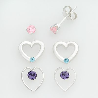 Sterling Silver Cubic Zirconia Heart Stud Earring Set - Kids