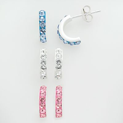 Sterling Silver Crystal Hoop Earring Set - Kids