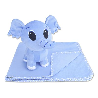 Trend Lab Fleece Blanket and Elephant Buddy Set