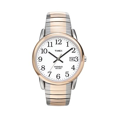Timex Easy Reader Indiglo Two Tone Stainless Steel Expansion Watch - T2H311 - Men