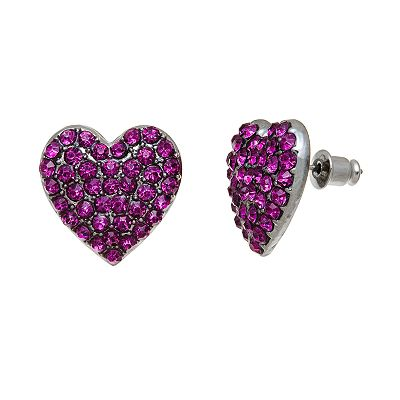 XOXO Silver Tone Simulated Crystal Heart Stud Earrings