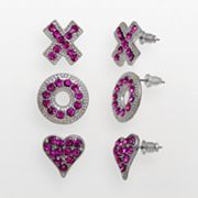 XOXO Silver Tone Simulated Crystal Heart, X and O Stud Earring Set