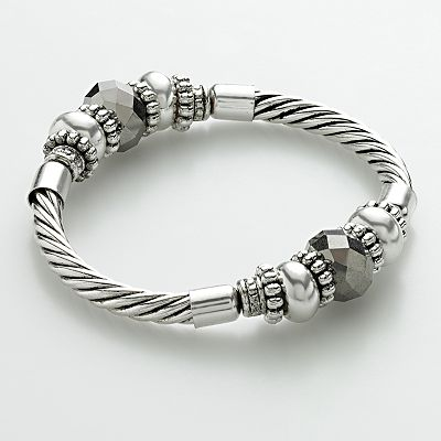 Croft and Barrow Silver Tone Bead Stretch Bracelet