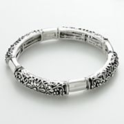 Croft and Barrow Silver Tone Filigree and Floral Stretch Bracelet