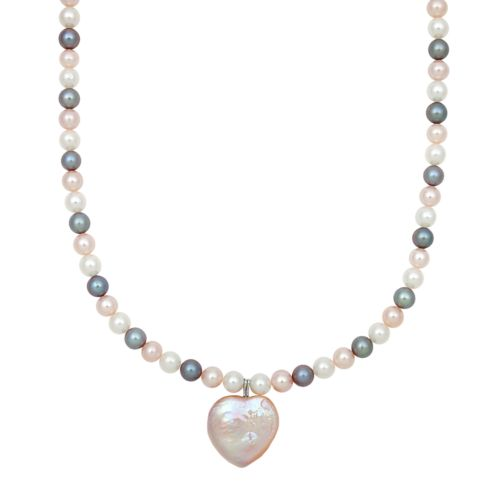 Sterling Silver Dyed Freshwater Cultured Pearl Heart Pendant