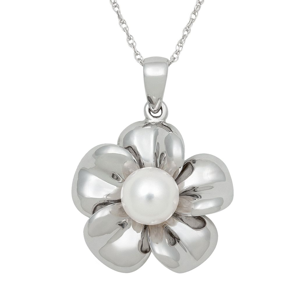 Sterling Silver Freshwater Cultured Pearl Flower Pendant