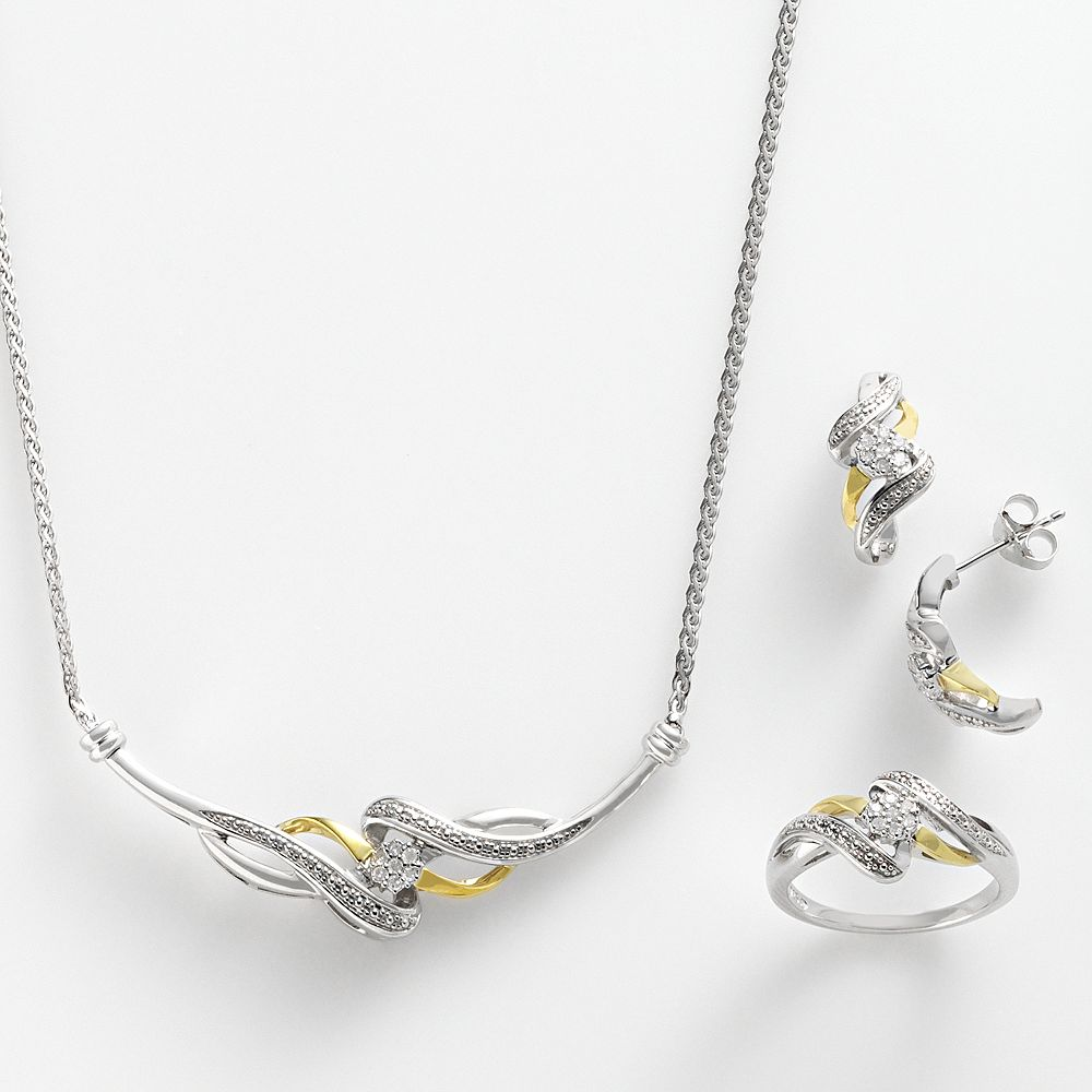 10k Gold Over Silver & Sterling Silver 1/4-ct. T.W. Diamond Twist Necklace, Ring & Drop Earring Set