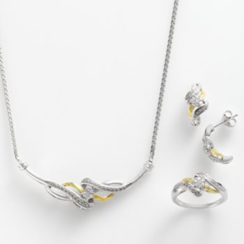 10k Gold Over Silver and Sterling Silver 1/4-ct. T.W. Diamond Twist Necklace, Ring and Drop Earring Set