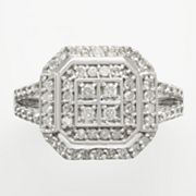 Sterling Silver 1/2-ct. T.W. Diamond Frame Ring