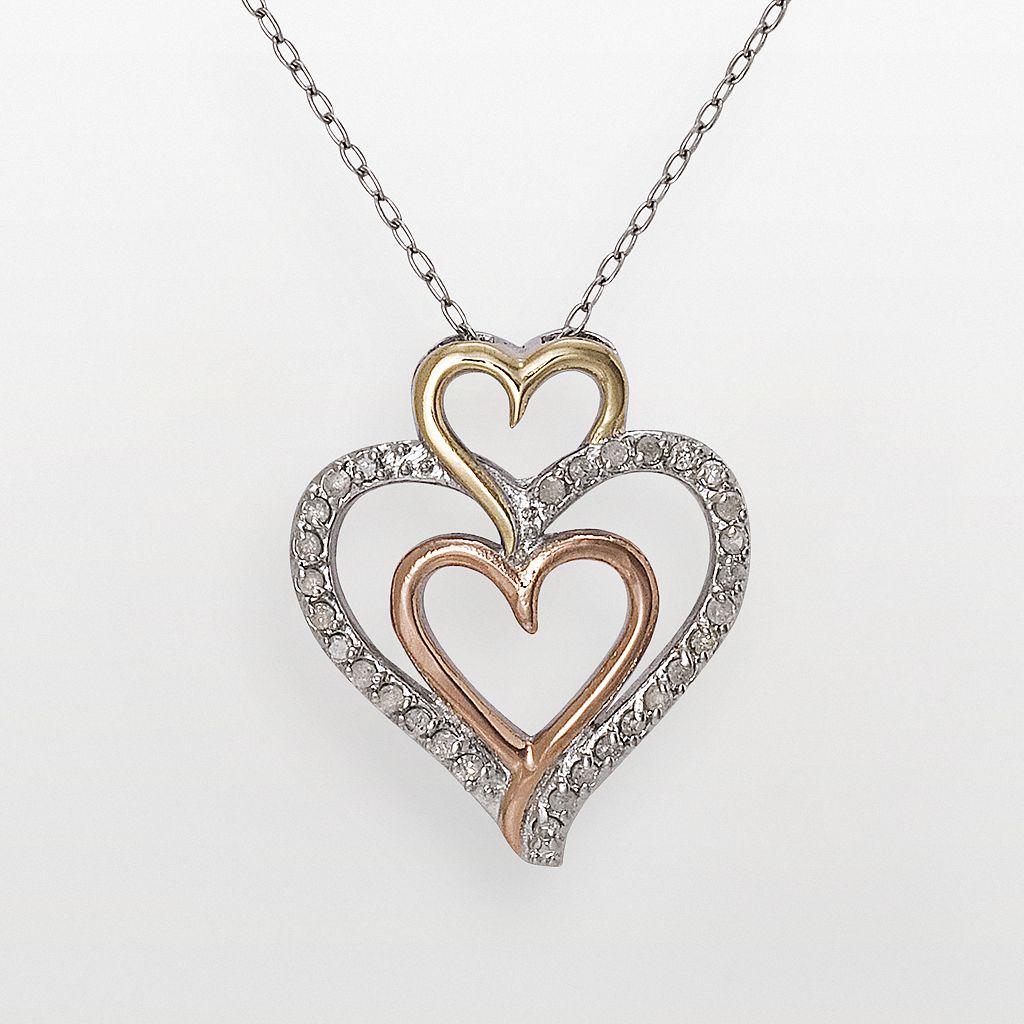 10k Gold-Over-Silver & Sterling Silver Tri-Tone 1/4-ct. T.W. Diamond Triple-Heart Pendant