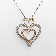 10k Gold-Over-Silver & Sterling Silver Tri-Tone 1/4 ctT.W. Diamond Triple-Heart Pendant