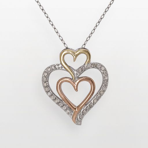 10k Gold-Over-Silver and Sterling Silver Tri-Tone 1/4-ct. T.W. Diamond Triple-Heart Pendant